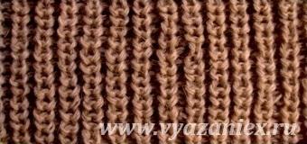 Полуанглийская резинка 1х1 - изнаночная сторона