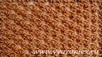 ажурная сетка спицами схема вязания